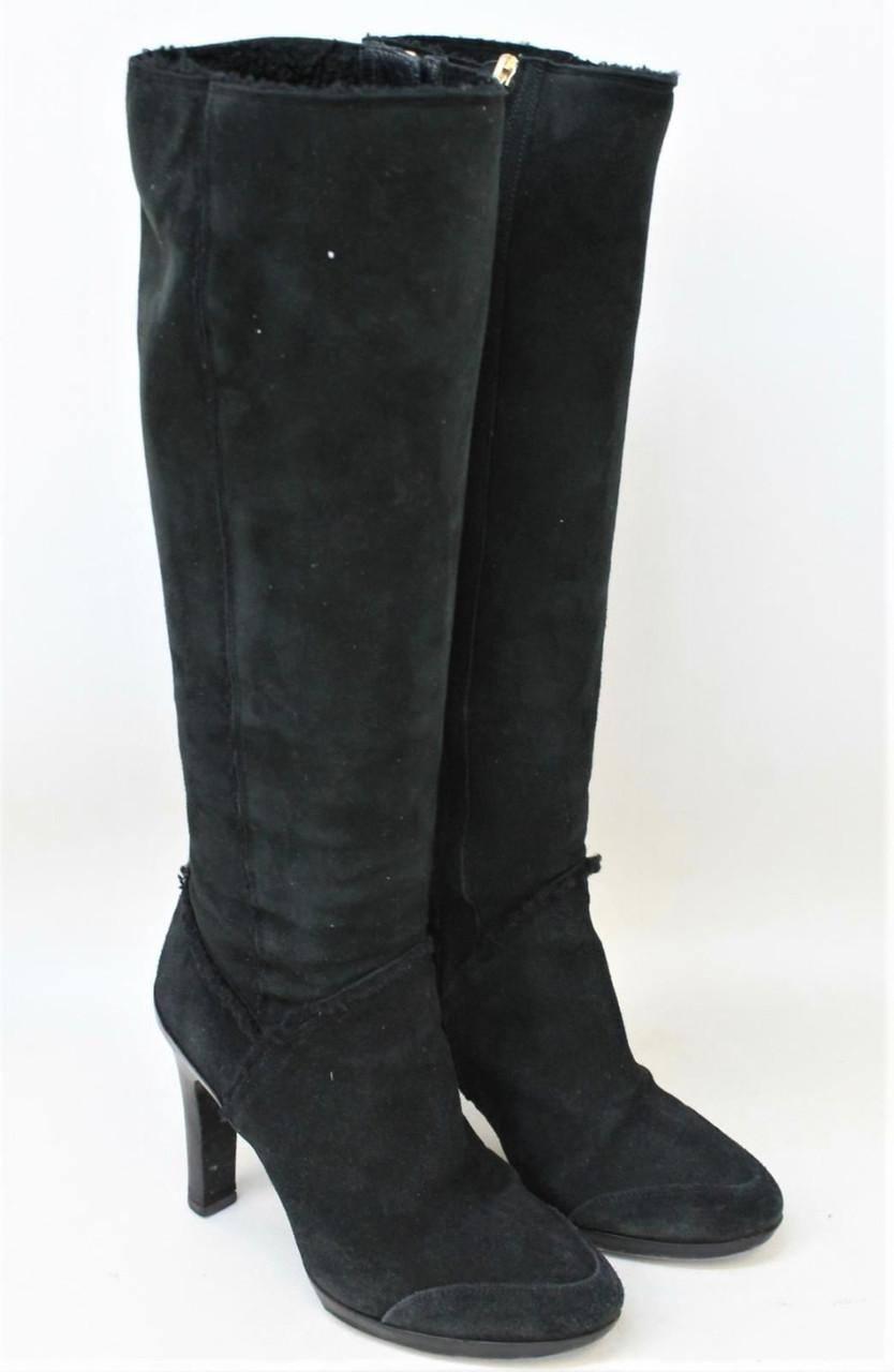 FENDI Ladies Black Suede Knee High Zip