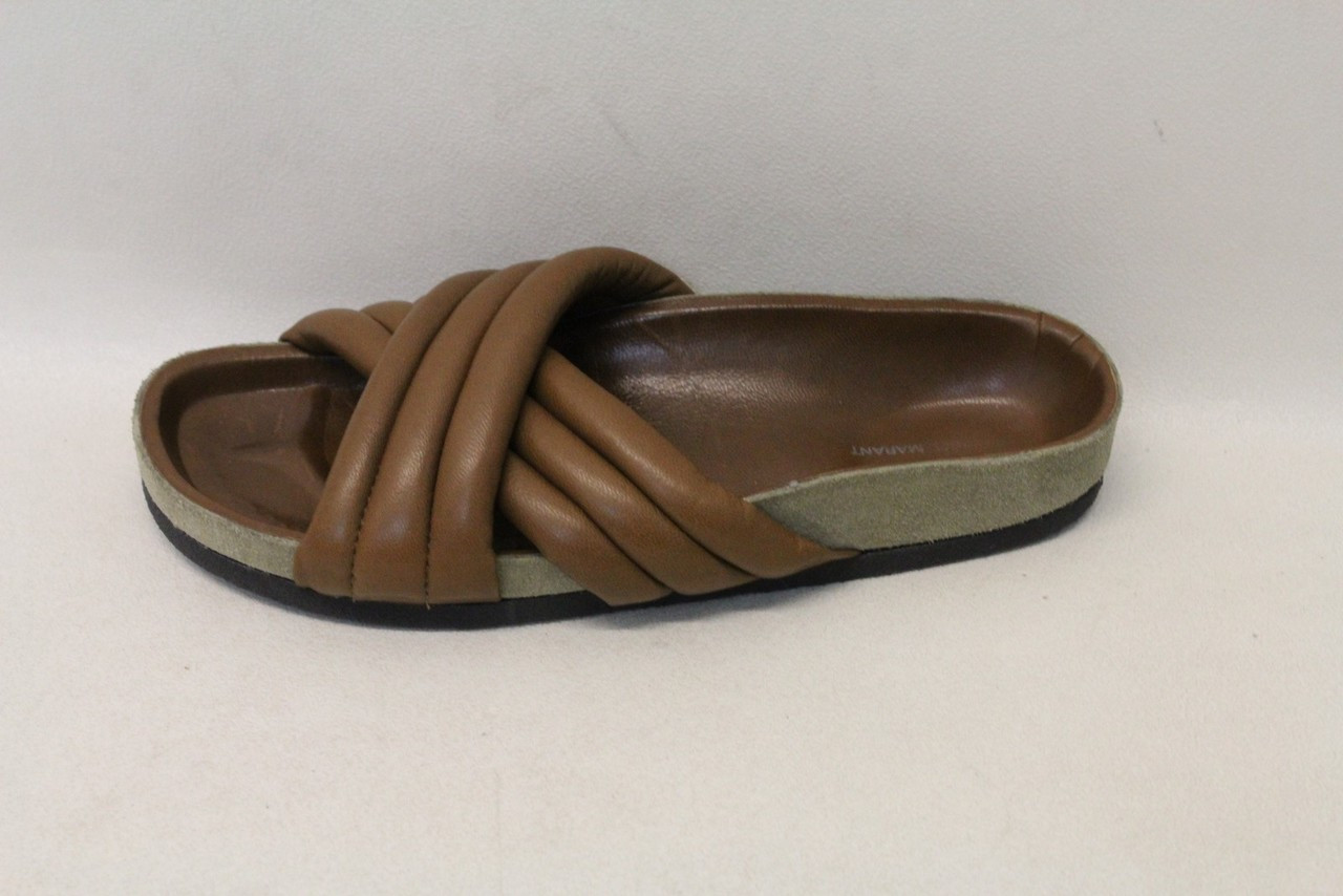 25febcac83 ISABEL MARANT Ladies Brown Leather Holden Cross Strap Slipper Sandals UK3  EU36