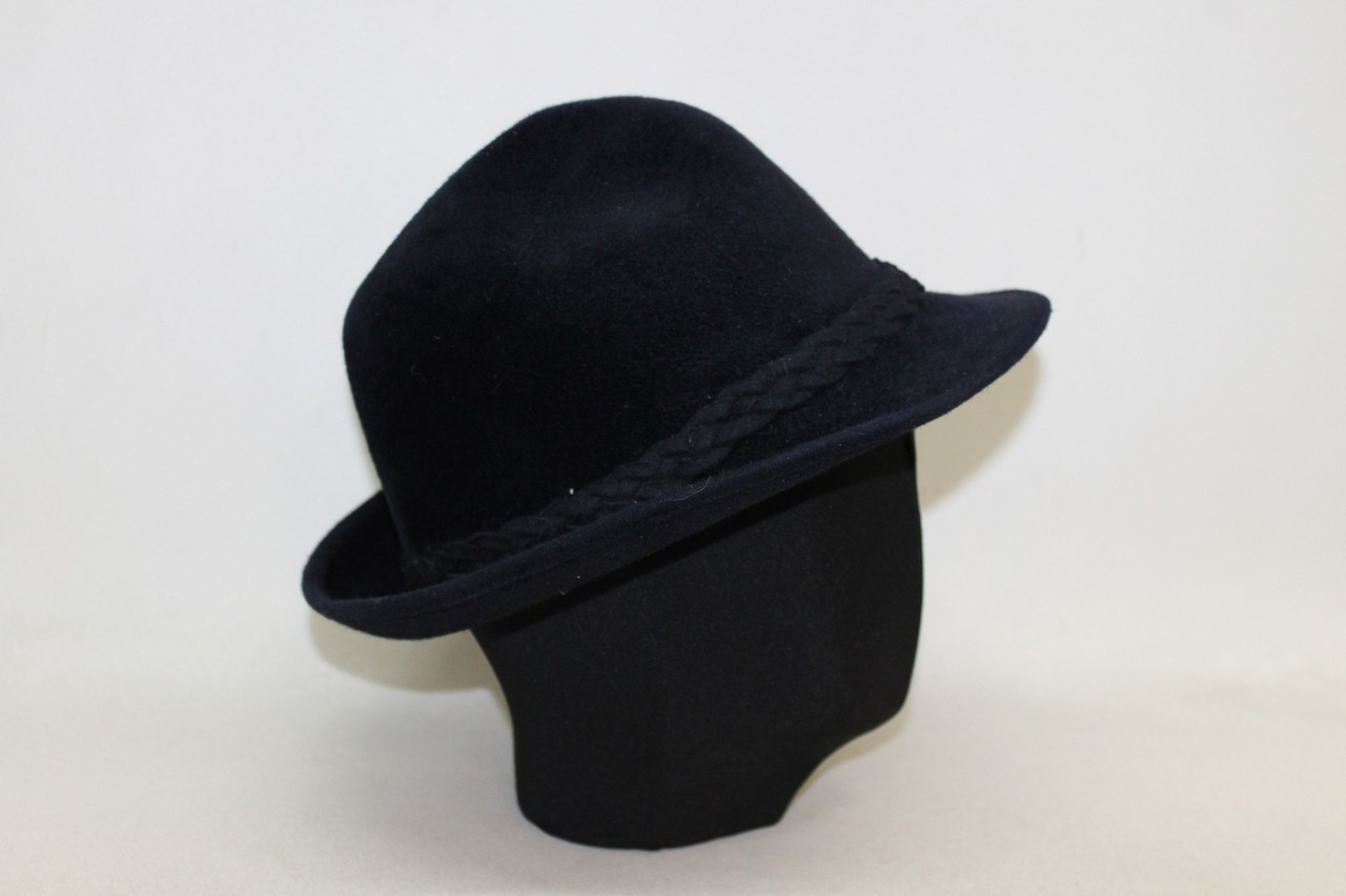 183cbec07 SKOCZOW Ladies Navy Blue Felt Braided Trim Fedora/Trilby Style Hat Size  55cm - Stuff U Sell