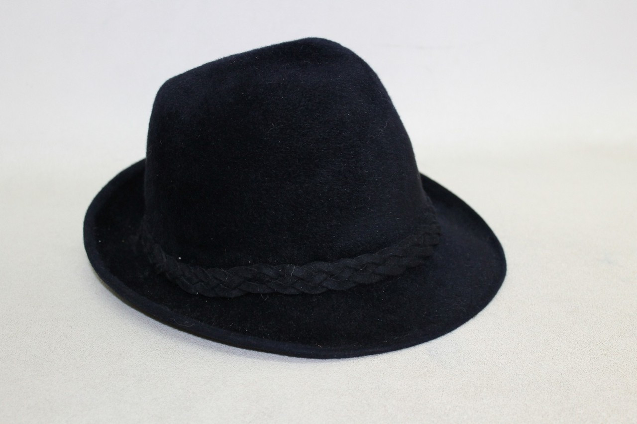 7f54412f6b8 SKOCZOW Ladies Navy Blue Felt Braided Trim Fedora/Trilby Style Hat Size 55cm