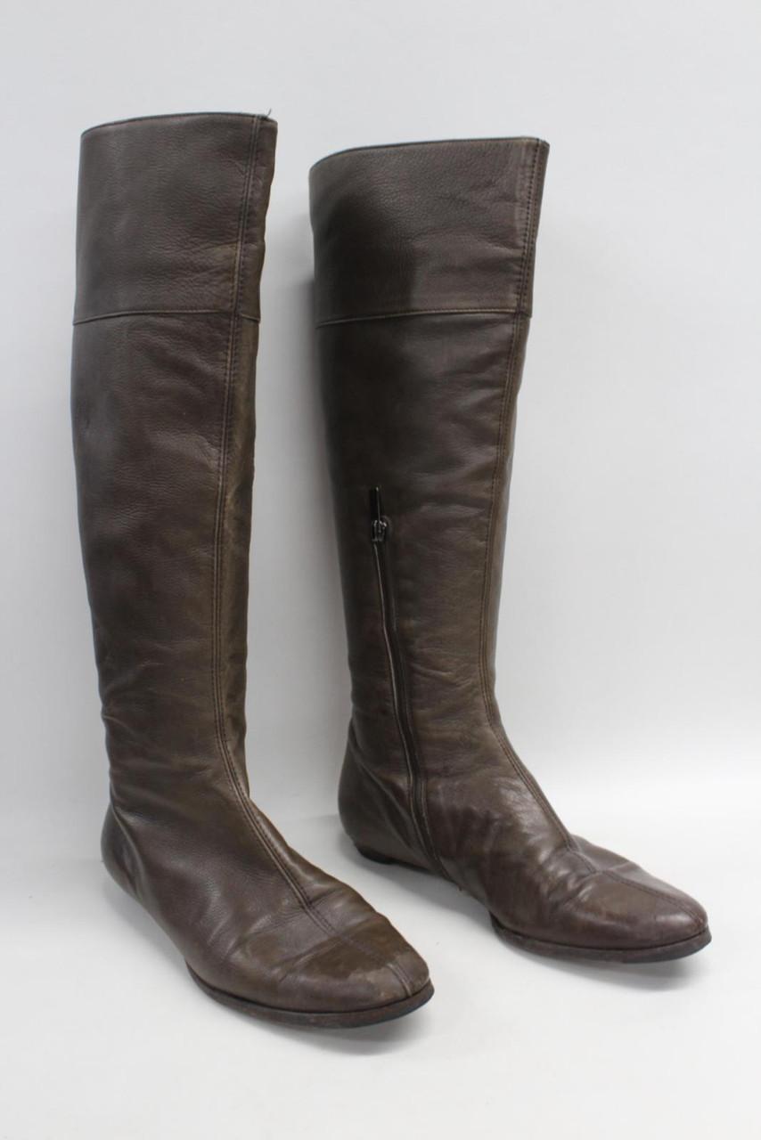 JIMMY CHOO Ladies Tan Brown Mid Calf Leather Slip On Boots w/ Side Zip UK5 EU38