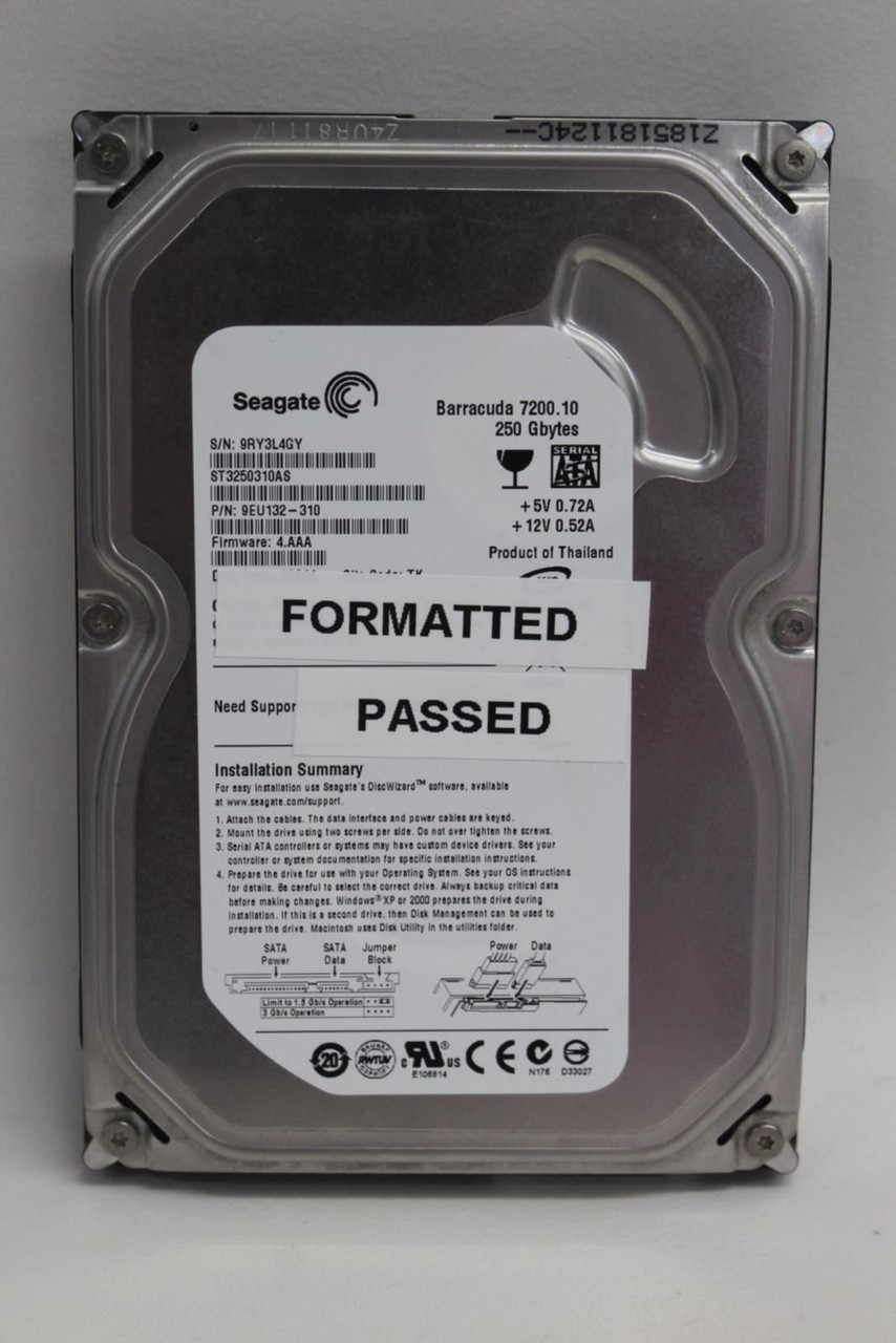 SEAGATE Barracuda Desktop PC Hard Drive Model ST3160815AS 250GB Internal HDD
