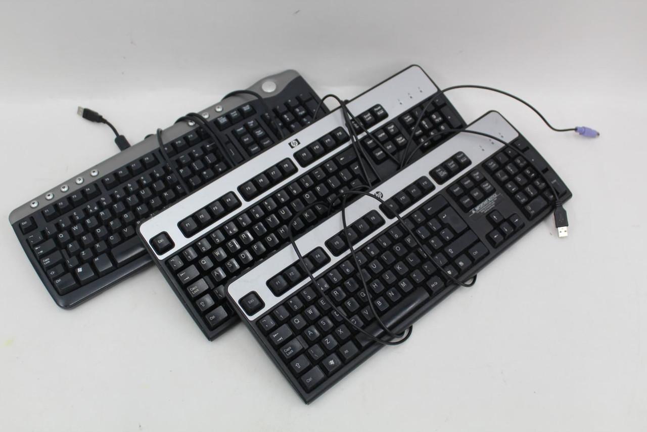3x Desktop Computer Qwerty USB PS/2 Keyboards HP KB-0316 KU-0316 Dell SK-8125