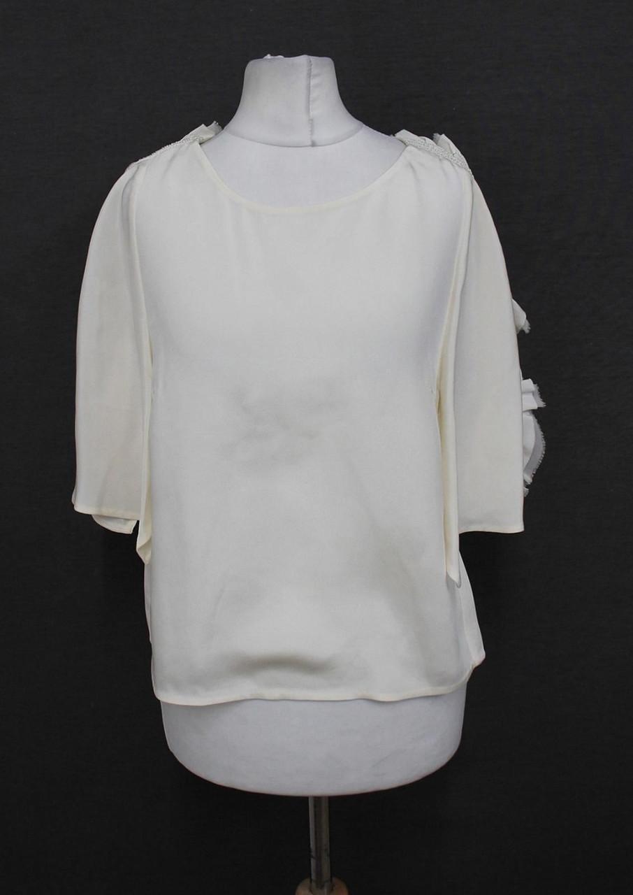 3.1 PHILLIP LIM Ladies Ivory Short Sleeved Frilled Shoulders Blouse US0 UK4