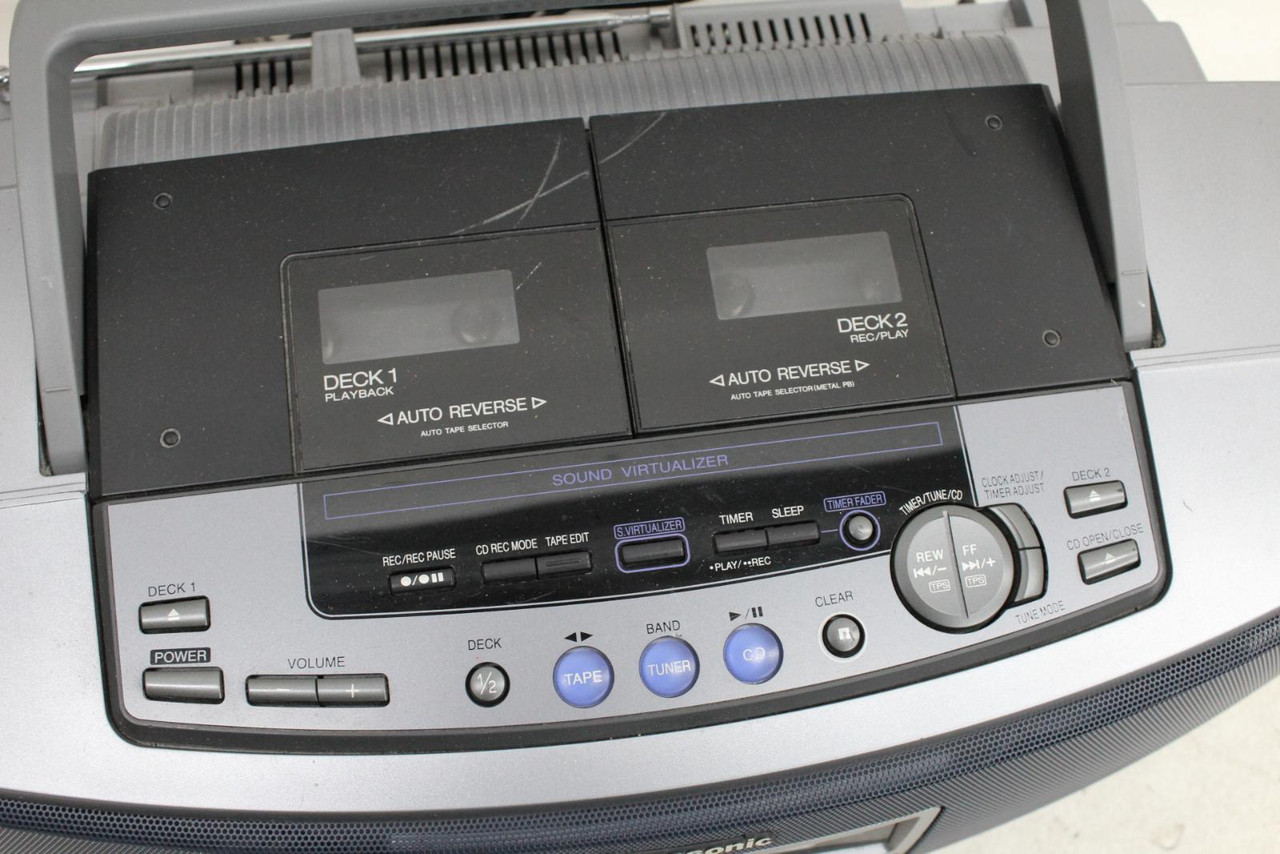 PANASONIC RX-ED55 Portable CD Double Cassette Tape Stereo System FAULTY