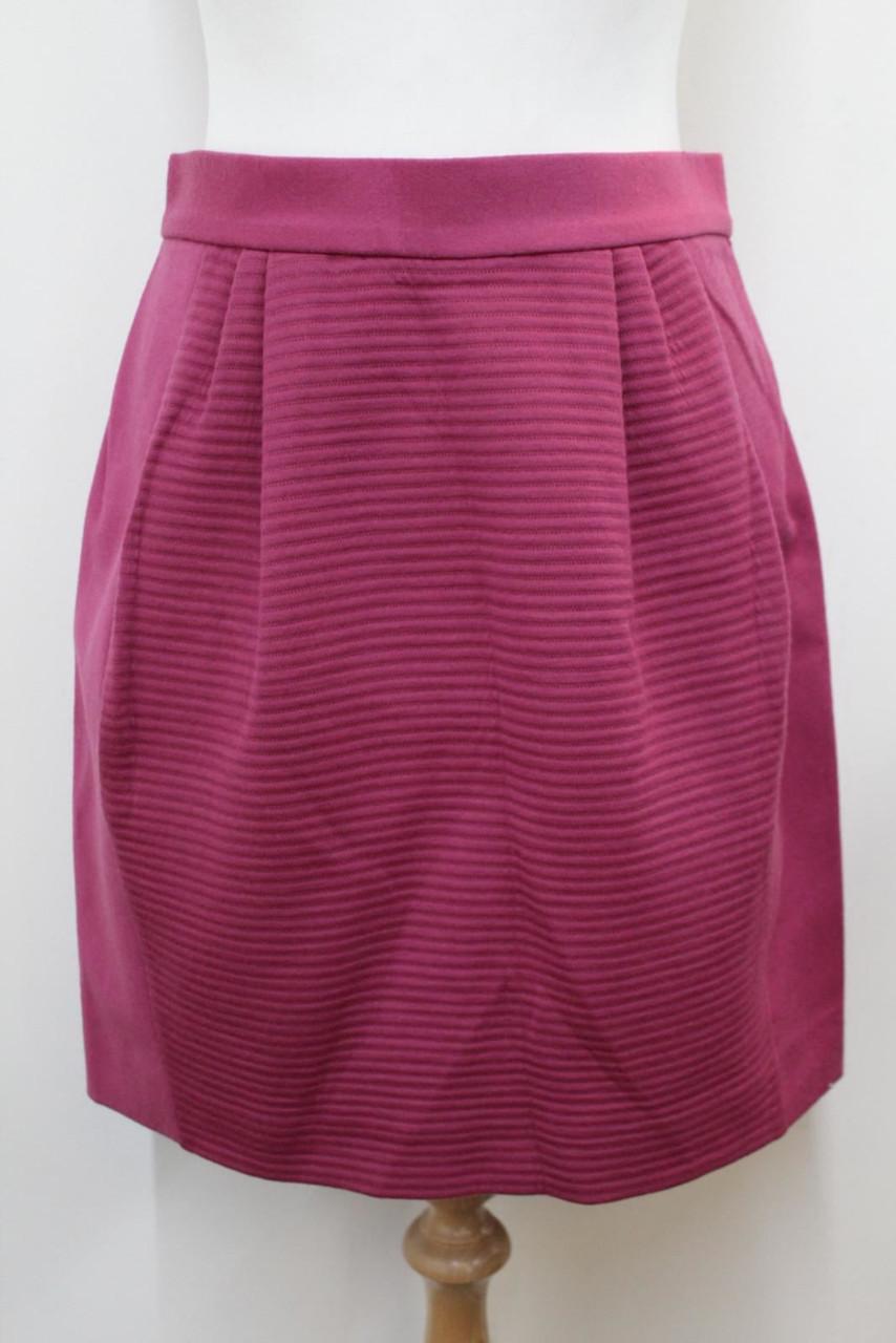 MISSONI Ladies Pink Panelled Ribbed Two Pocket Zip Up Pleated Mini Skirt UK8