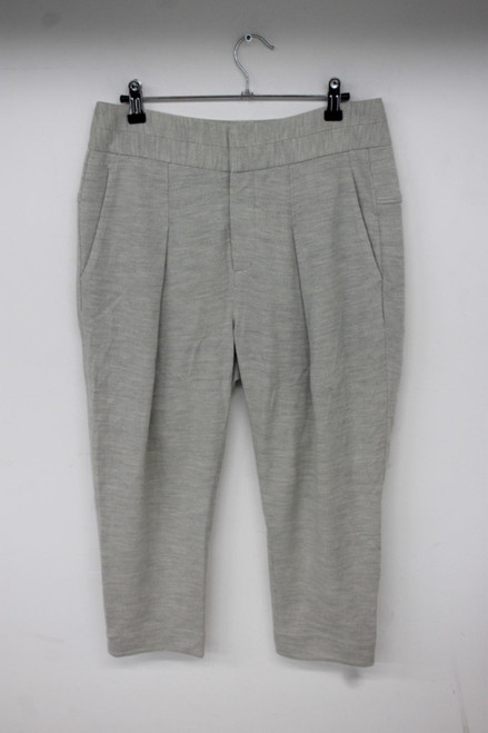 HELMUT LANG Ladies Grey 100% Wool Zip Fly Cropped Calf Length Trousers Size S