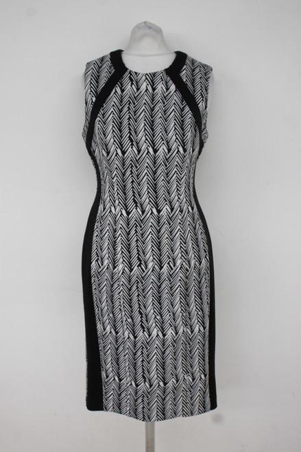 CALVIN KLEIN Ladies Black/White Sleeveless Knee Length Scuba Dress Size S