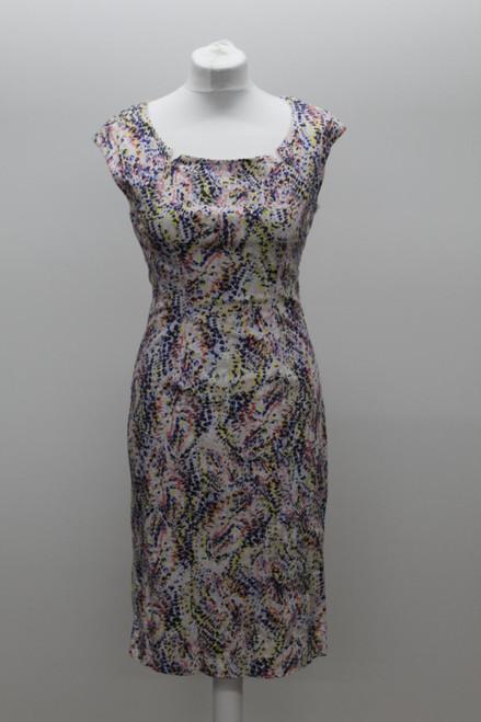 L.K. BENNETT Ladies White Multi Cotton Blend Abstract Print Pencil Dress UK8