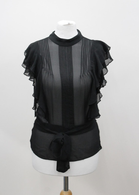 TED BAKER Ladies Black Silk Frill Crew Neck Capped Sleeve Blouse Top UK6