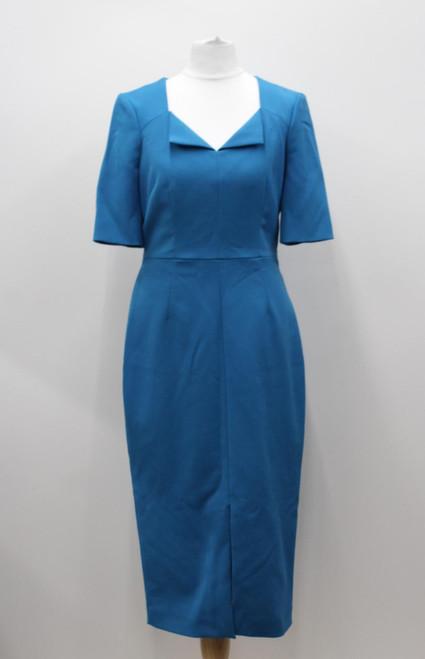 L K BENNETT Ladies Blue Short Sleeve V Neck Knee Length Shift Dress UK10