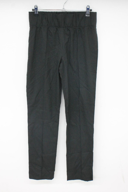 BCBG MAX AZRIA Ladies Black/Grey Pinstripe Stretch Waistband Trousers W28 L28