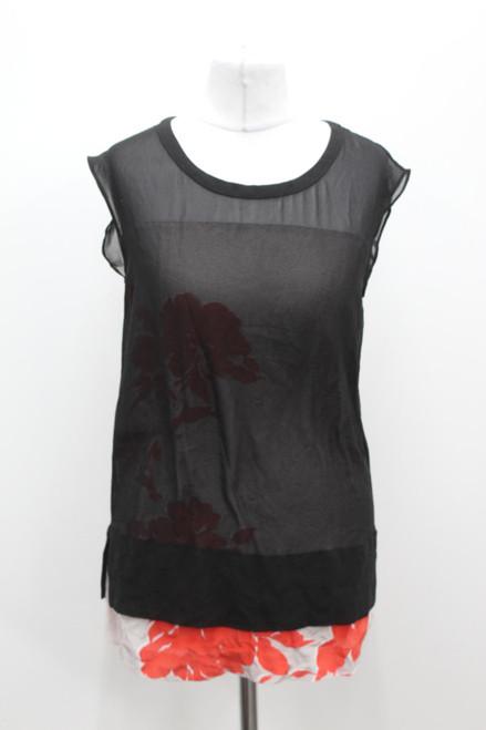 ALL SAINTS Ladies Black Scoop Neck Layered Sleeveless Long Formal Blouse UK4