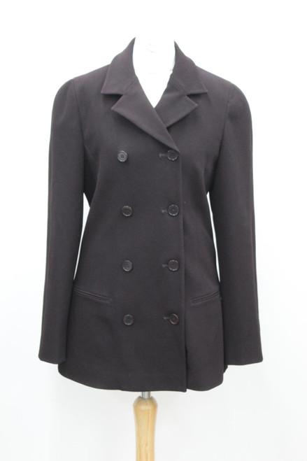 CALVIN KLEIN Ladies Burgundy Wool Double-Breasted Long Sleeves Pea Coat UK8