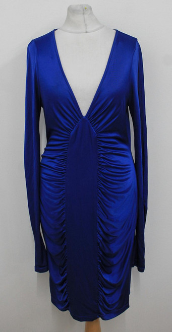 BCBG MAX AZRIA Ladies Sapphire Blue Long Sleeved Ruched V Neck Bodycon Dress S