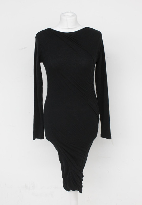 HUGO BOSS Ladies Black Long-Sleeve Ruched Knee Length Stretch Bodycon Dress S