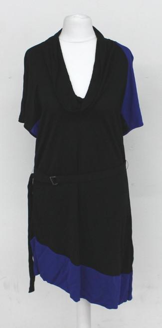 KAREN MILLEN Ladies Black & Blue Cowl Neck Short Sleeve Waist Belt Dress UK12