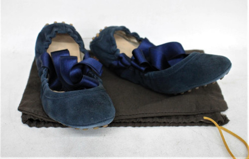 TOD'S Ladies Navy Blue Suede Uppers Ribbon Ballerina Shoes Approx. UK 4.5 EU37