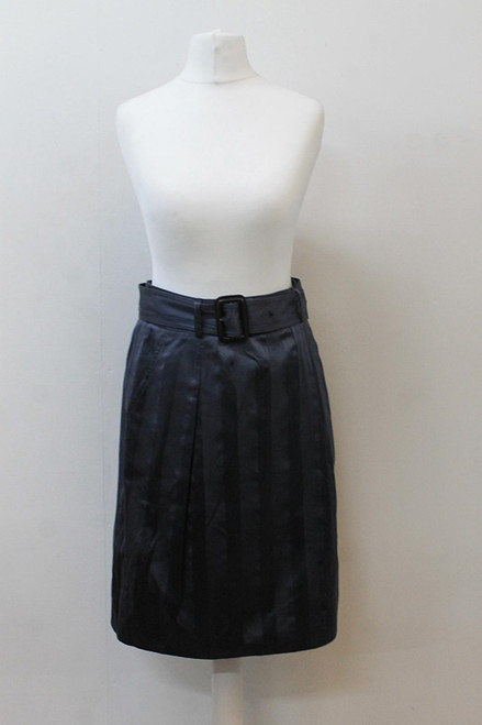 BURBERRY Ladies 1248 Minstead Blue Grey Belted A-Line Skirt UK8 IT40 NEW