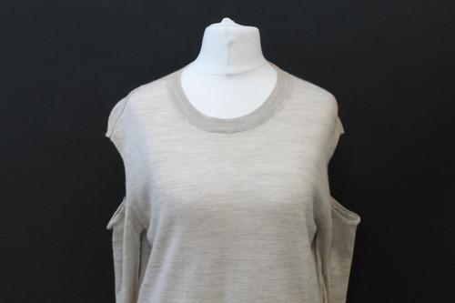 ALL SAINTS Ladies Beige Wool Cold Shoulder Round Neck Long Sleeve Jumper S