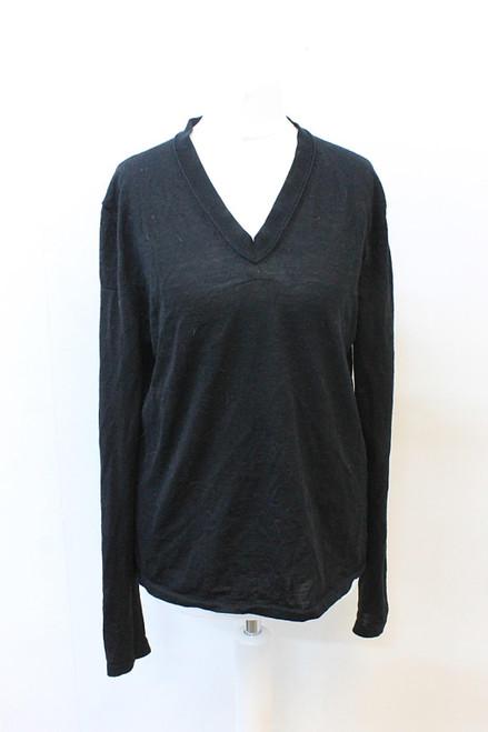 HUGO BOSS Ladies Black 100% Virgin Wool V-Neck Long Sleeve Jumper Sweater S