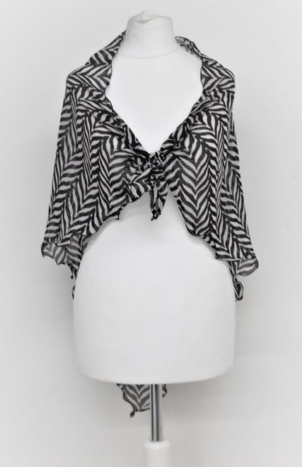 """DIANE VON FURSTENBERG Ladies Black & White Lightweight Zebra Print Scarf 50"""""""