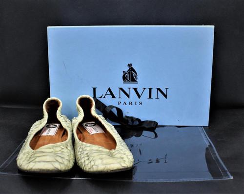 LANVIN Ladies Ivory Leather Snakeskin Ballerinas Flats Shoes UK 2.5 EU34.5