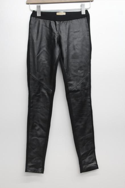 MICHAEL KORS Ladies Black Leather Look Jersey Mid Rise Leggings Trousers XXS W32
