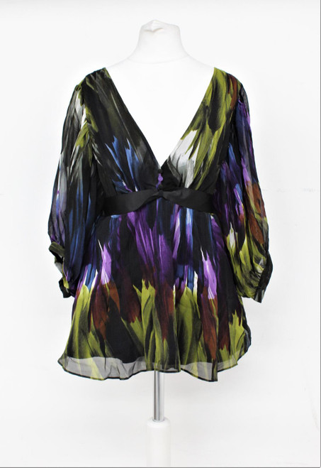 TED BAKER Ladies Black Multi Silk V Neck Ribbon Tie-Up Waist Formal Blouse M