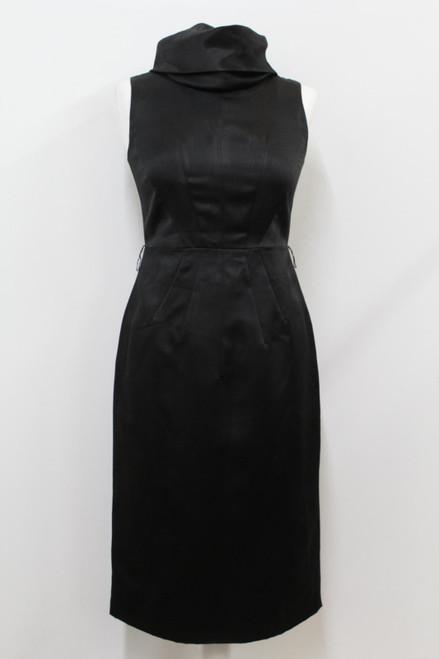 MICHAEL KORS Ladies Black Satin Cowl Neck Knee Length Pencil Dress US2 UK6