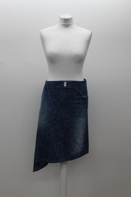 VERSACE Ladies Mid Blue Cotton Denim Glitter Asymmetric Hem Skirt UK10 IT42