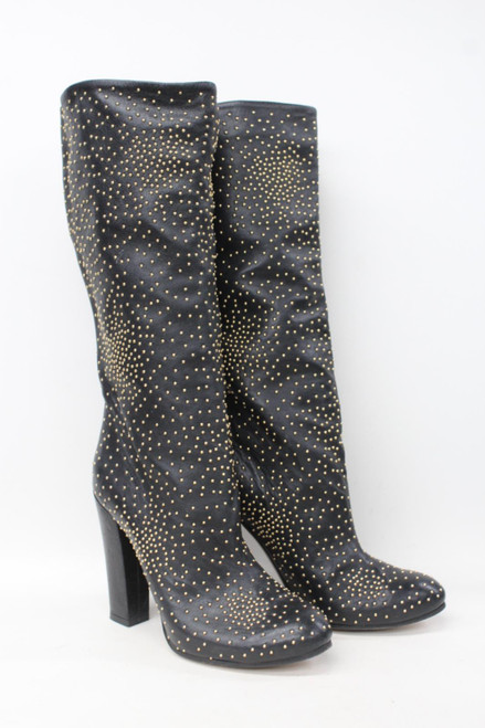 CHLOE Ladies Black Leather Gold Stud High Block Heel Mid Calf Boots EU36 UK3