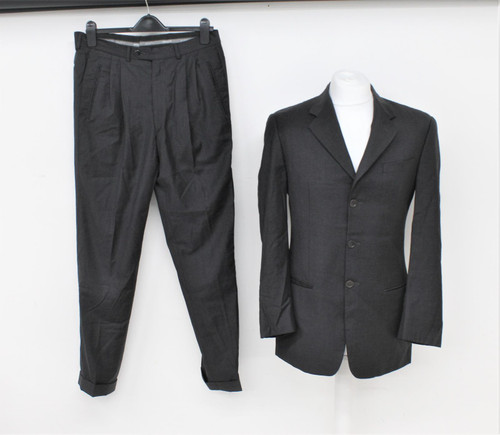 ARMANI Men's Charcoal Grey Wool Single Breasted 2-Piece Tailored Suit UK40