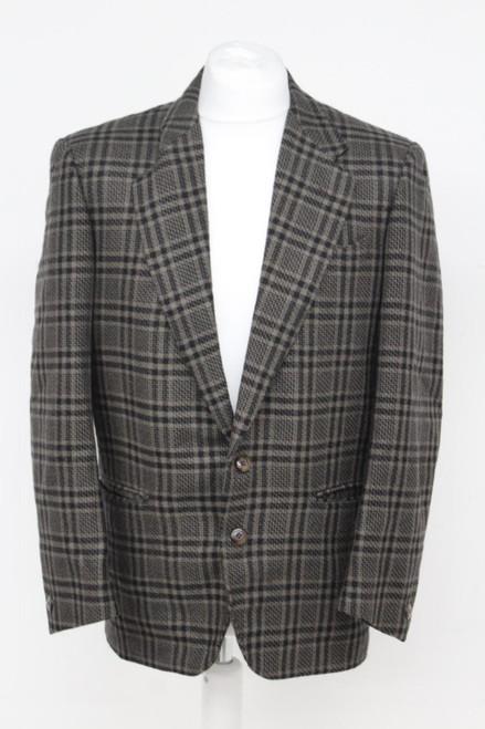 LANVIN Man's Black Brown New wool Single Breasted Notch Lapel Suit Blazer 46