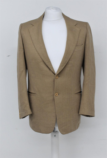 YVES SAINT LAURENT Men's Beige Herringbone 2-Button Single Breasted Blazer UK40