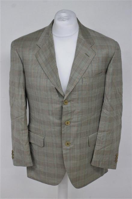 SALVATORE FERRAGAMO Men's Beige 100% Wool Single Breasted Blazer Jacket Size XL