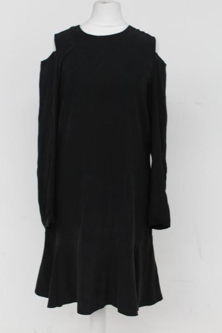 ALL SAINTS Ladies Black Silk Crew Neck Shoulderless Knee Length Shift Dress UK8