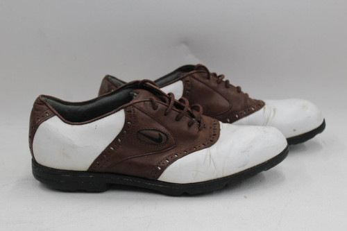 NIKE Air Men's Tan Brown White Lace Up Brogue Golfing Shoes Trainers UK7.5