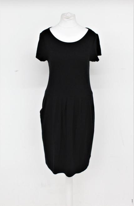 JAEGER Ladies Black Scoop Neck Jersey Stretch Knee Length Dress w Pockets UK10