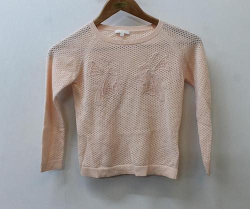 CHLOE Girls Peach Embroidered Bird Long Sleeve Cotton Blend Jumper 6 Yrs
