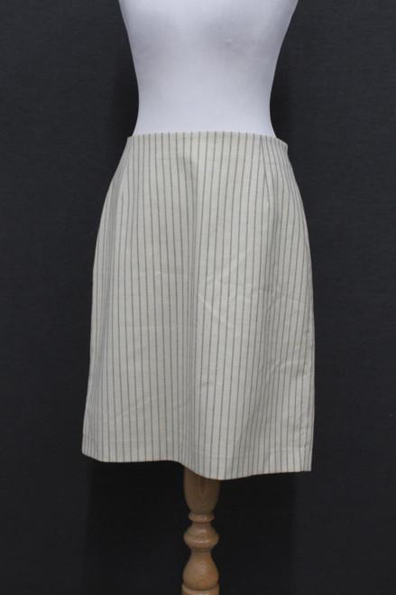 HUGO BOSS Ladies Beige Pinstripe Virgin Wool Knee Length Pencil Skirt UK12