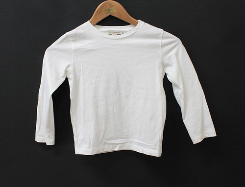 BURBERRY Girls White Long Sleeve Checked Elbow Patch Cotton T-Shirt 6 Y/114cm