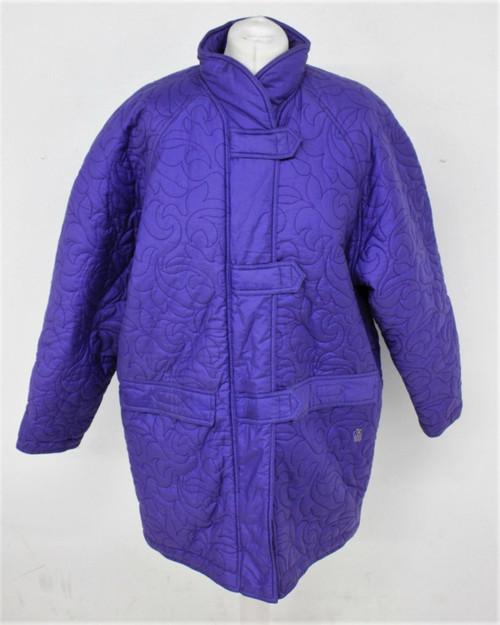 VALENTINO Ladies Purple Cotton Blend Zip Fastening Stitch Pattern Coat UK8
