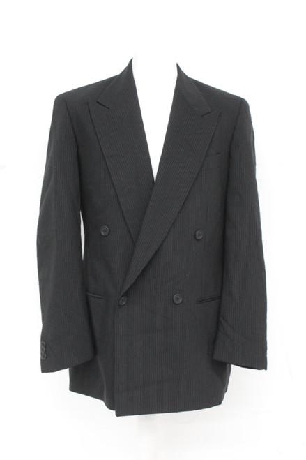 ARMANI Men's Black Pinstripe Double Breasted Long Sleeve Suit Jacket IT50 UK44