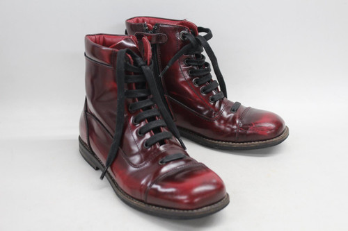 DOLCE & GABBANA Girl's Boots Red Leather Lace Up Square Toe Side Zip EU32 UK13