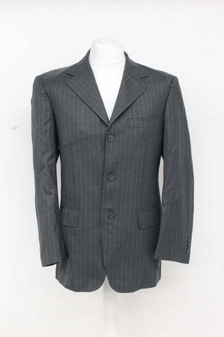ERMENEGILDO ZEGNA Men's Grey Multi Vertical Striped Long Sleeve Jacket UK42