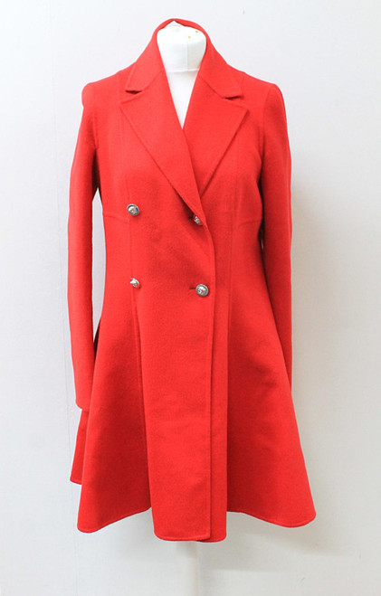 VERSACE Ladies Red Double Breasted Flared Wool Angora Cashgora Coat IT42/M