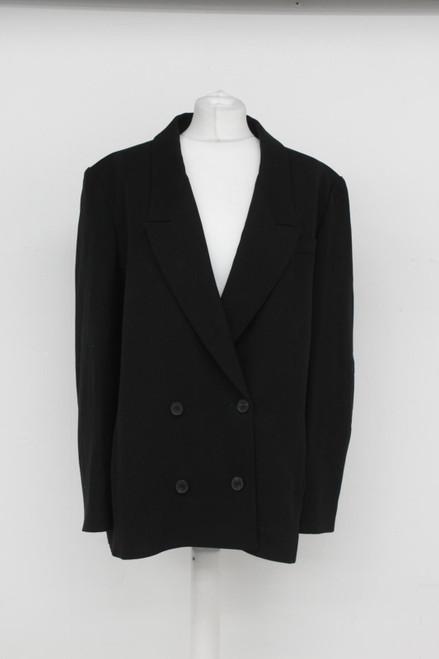 JAEGER Ladies Black Doble Breasted Long Sleeve Formal Blazer w Pockets UK18 NEW