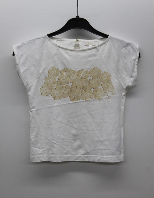 CHLOE Girl's White Cotton Blend Boat Neck Cap Sleeve T-Shirt Size 5 Years