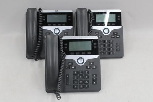 3 x CISCO CP-7841 7800 Series 4 Line Gigabit IP Office Business Telephones